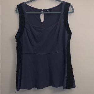 Torrid size 2 grey tank top with lace
